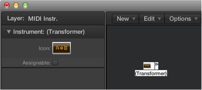 Figure. Environment window showing a transformer object and its inspector.