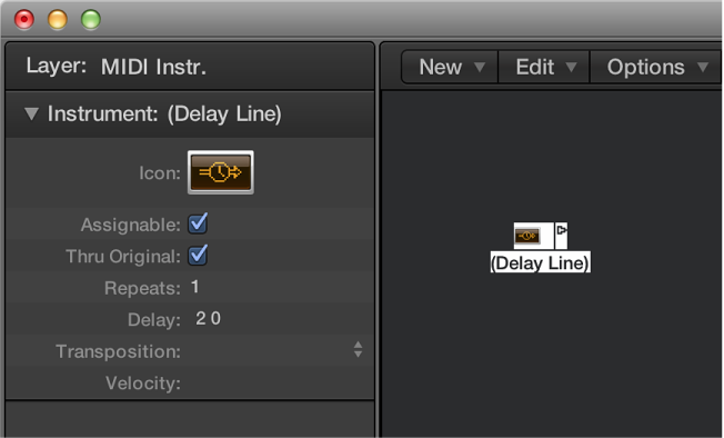 Figure. Environment window showing a delay line object and its inspector.