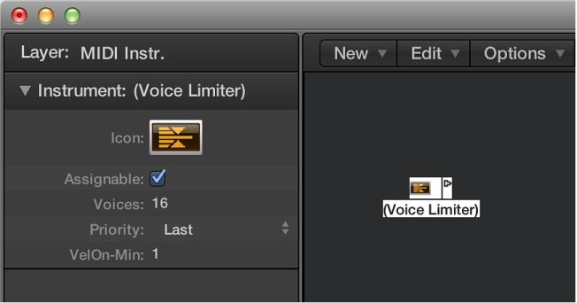 Figure. Environment window showing a voice limiter object and its inspector.
