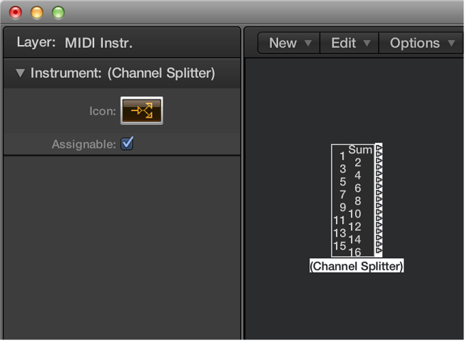 Figure. Environment window showing a channel splitter object and its inspector.
