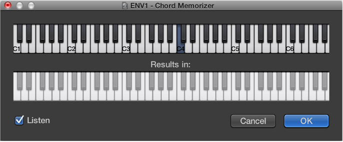 Figure. Chord Memorizer window showing Listen checkbox selected.