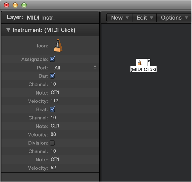 Figure. Environment window showing a MIDI click object and its inspector.