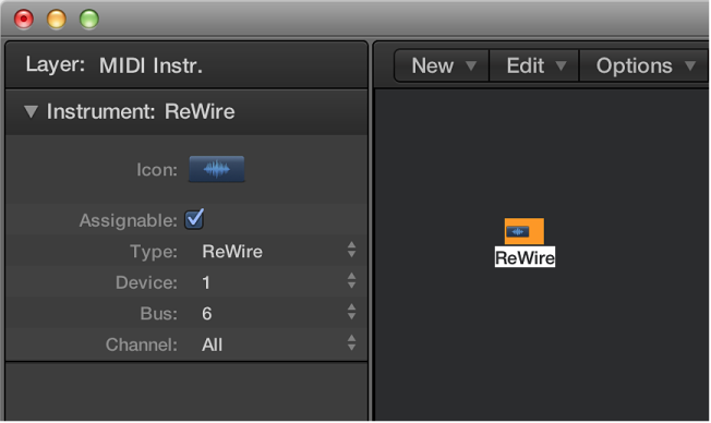 Figure. Environment window showing a ReWire object and its inspector.