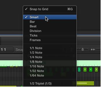 Figure. Snap pop-up menu in the Piano Roll Editor menu bar.