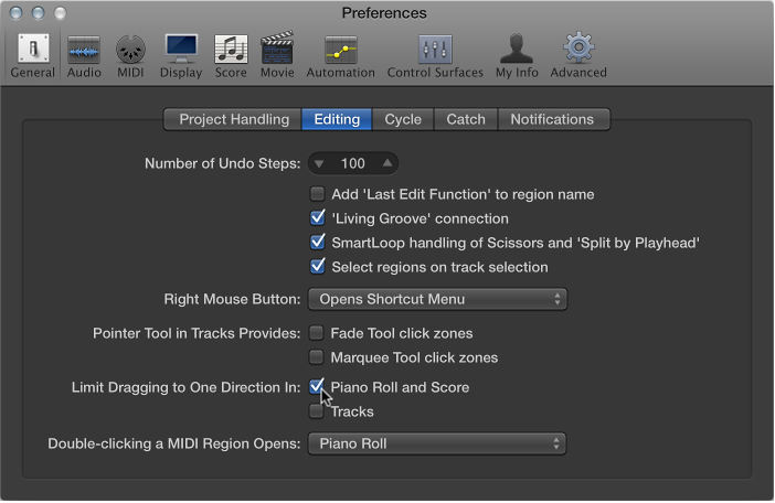 Figure. General Editing preferences indicating options to limit note movement dragging.