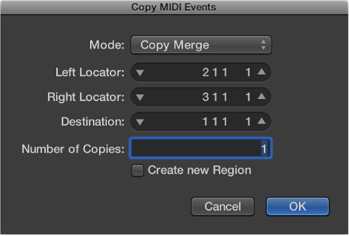 Figure. Copy MIDI Events dialog.