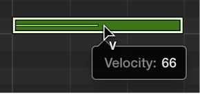 Figure. Piano Roll Editor showing Velocity tool over note event.