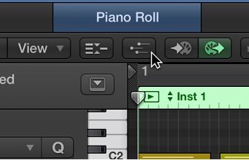 Figure. Clicking MIDI Draw button in Piano Roll Editor menu bar.