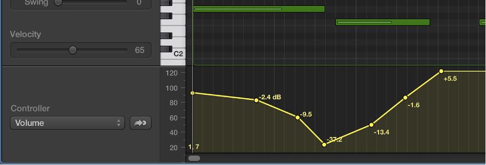 Figure. MIDI Draw area at bottom of Piano Roll Editor.
