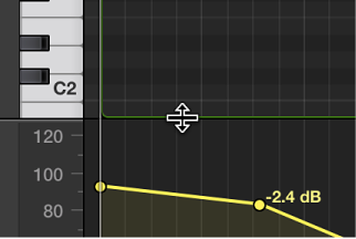 Figure. Resizing the MIDI Draw area at the bottom of the Piano Roll Editor.