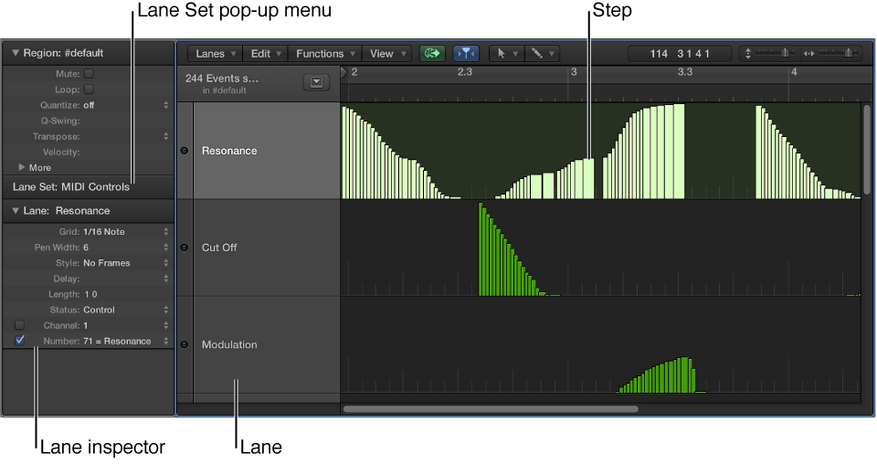 Figure. Step Editor window showng main elements.