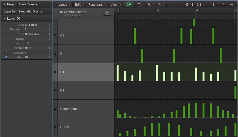 Figure. Step Editor showing note event lanes controlling single note pitches.