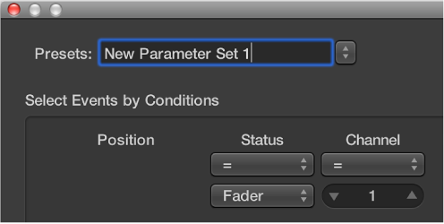 Figure. Entering a transform set name in the Presets menu.