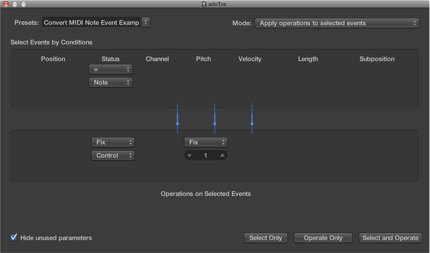 Figure. Transform window showing settings for converting MIDI note events to MIDI controller 1 events.