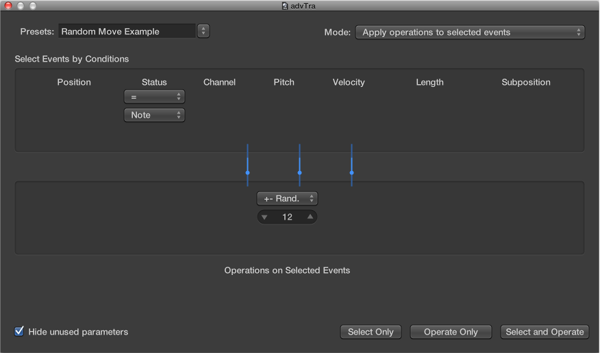 Figure. Transform window showing settings to randomly change the pitch of MIDI note events.