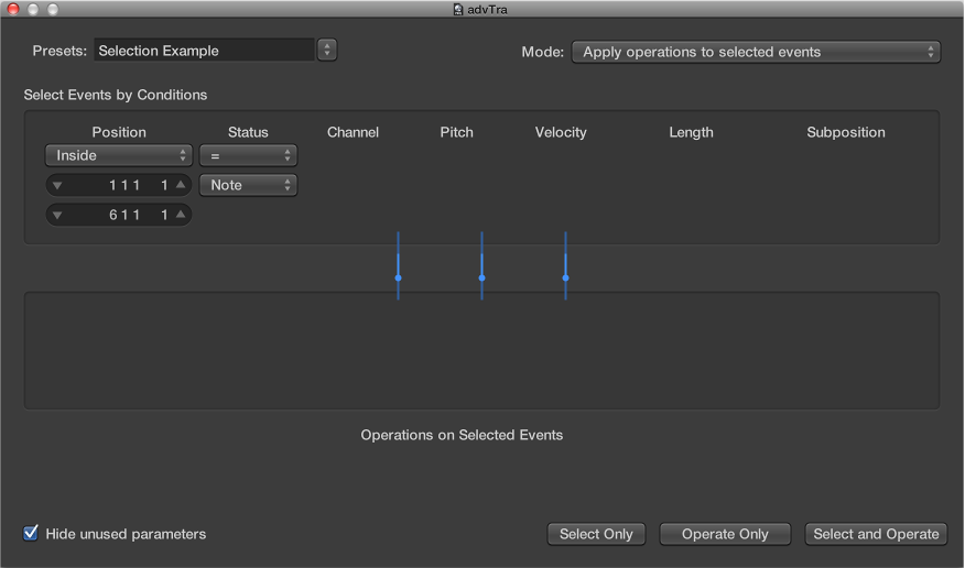 Figure. Transform window showing settings to make note selections for edit operations.
