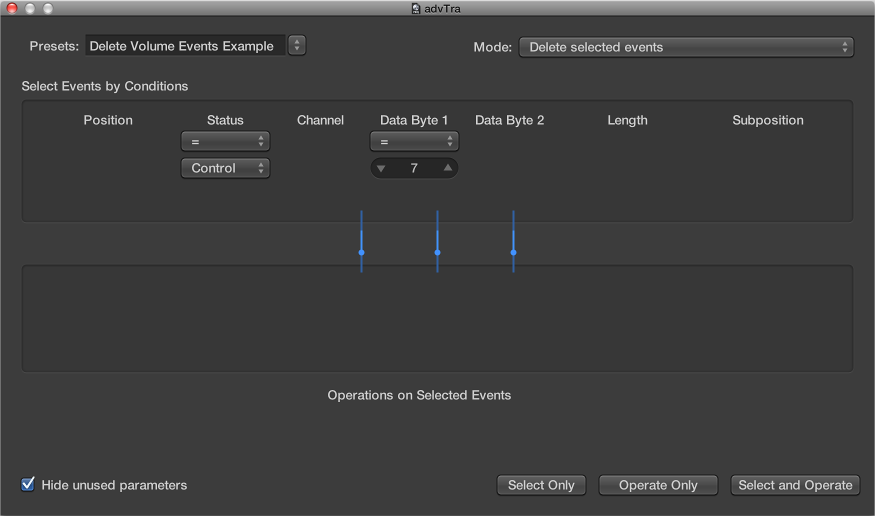 Figure. Transform window showing settings to delete volume events from a MIDI region.