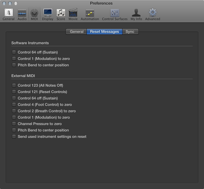 Figure. MIDI Reset Messages preferences.