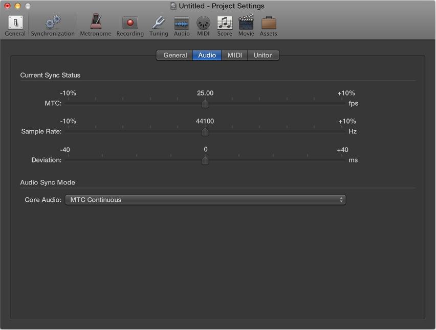 Figure. Audio Synchronization settings.