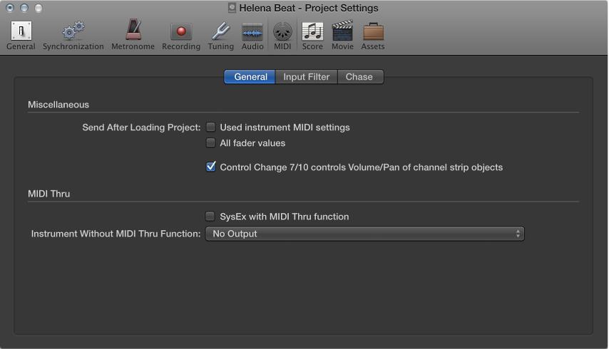 Figure. General MIDI settings.