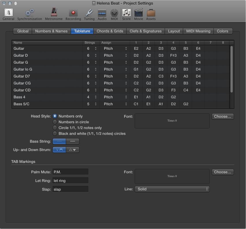 Figure. Score Tablature settings.