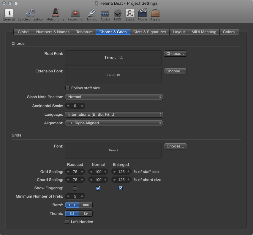 Figure. Chords and Grids settings.