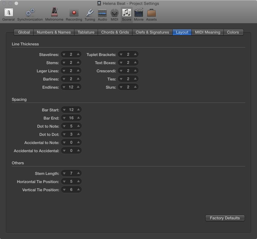 Figure. Score Layout settings.