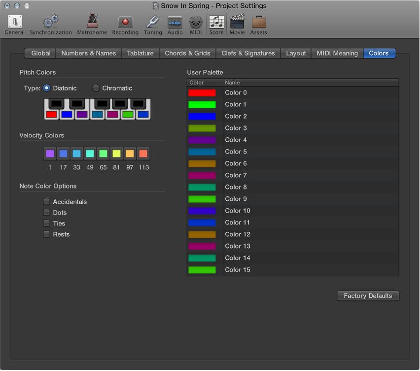 Figure. Score Colors settings.