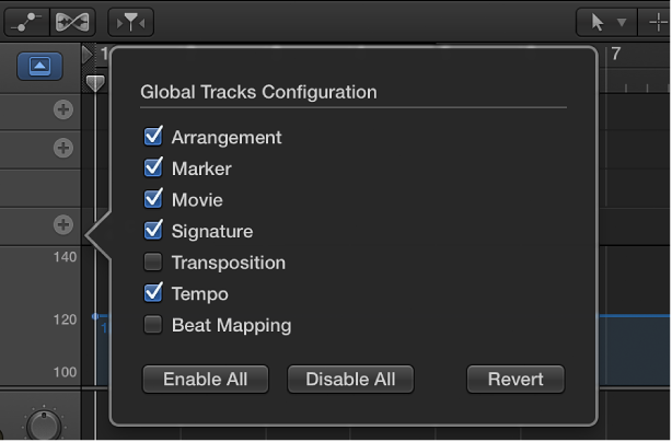 Figure. Global Tracks Configuration dialog.