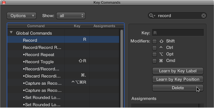 Figure. Deleting a key command assignment.