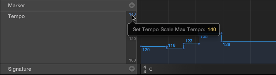 Figure. Dragging tempo scale values in tempo display.