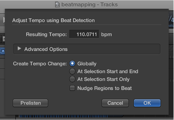 Figure. Adjust Tempo using Beat Detection dialog.