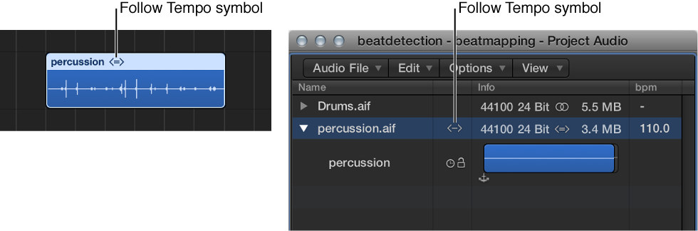Figure. Follow Tempo symbol on audio region, and in Project Audio Browser.