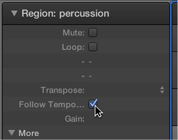 Figure. Follow Tempo checkbox in Region inspector.
