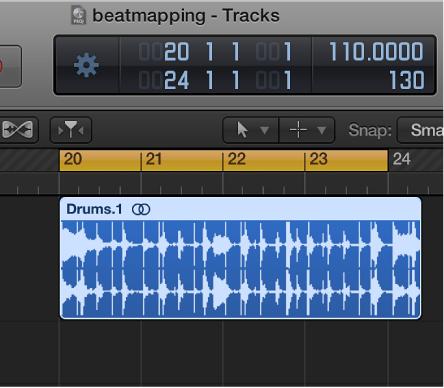 Figure. Tracks area showing locator range slightly shorter than audio region.