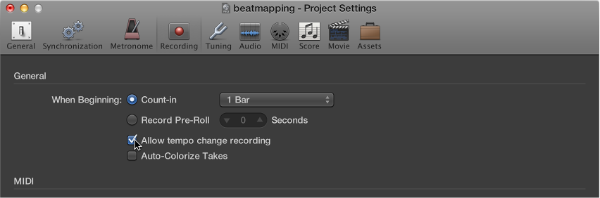 Figure. Recording project settings pane.