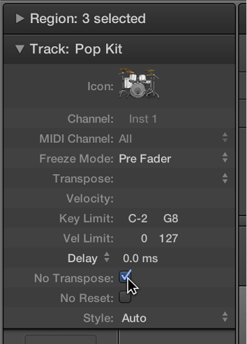 Figure. Track Parameter box with the No Transpose checkbox selected.