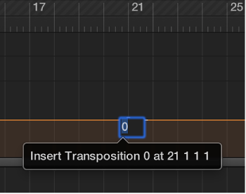 Figure. Transposition track showing entry of a transposition value in the field.