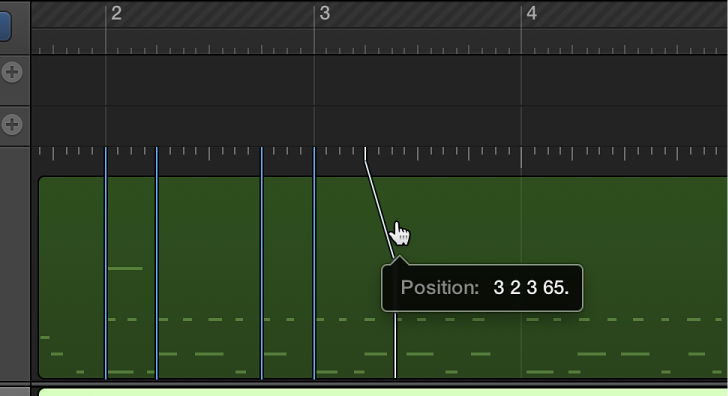 Figure. Beat Mapping track showing line being dragged from ruler to chosen note.