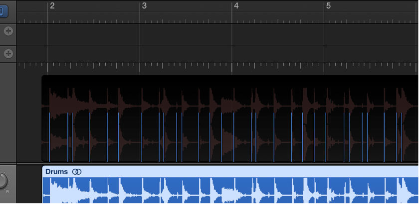 Figure. Transients displayed as vertical lines in Beat Mapping track.