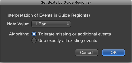 Figure. Set Beats by Guide Regions dialog.