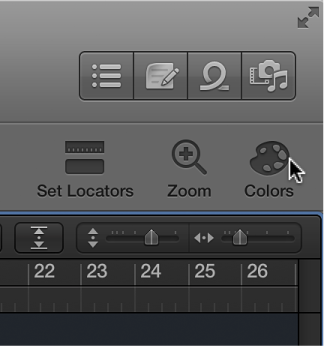 Figure. Showing the Colors button in the toolbar.