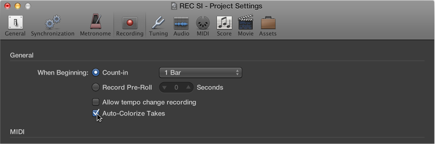 Figure. Selecting Auto-Colorize Takes in the Recording project settings pane.