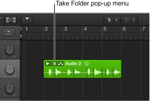 Figure. Pointing out the Take Folder pop-up menu.