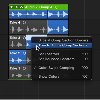 Figure. Choosing Trim to Active Comp Sections from the shortcut menu.