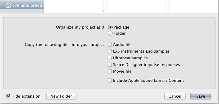 Figure. Checkboxes at the bottom of the Save As dialog, for selecting different assets to save in the project.