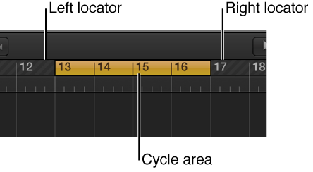 Figure. Bar ruler with cycle area between the left and right locators.
