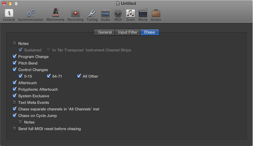 Figure. Chase pane in the MIDI project settings.