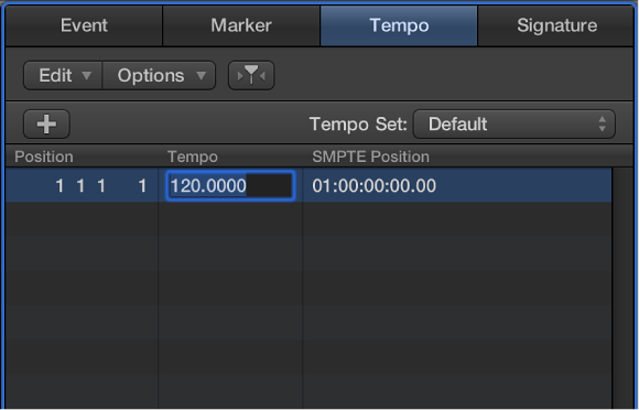 Figure. Tempo tab with tempo selected, ready to enter a new tempo value.