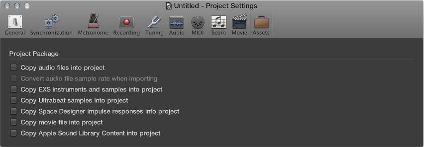 Figure. Assets project settings pane.